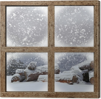 Tableau sur toile L'extérieur d'hiver voir avec la pile de bois de chauffage de fenêtre en bois