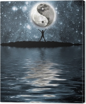 Tableau sur toile L'homme en face de la lune avec le signe du yin et du yang