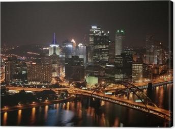 Tableau sur toile L'horizon de Pittsburgh de Mount Washington dans la nuit.
