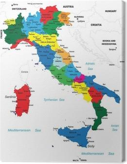 Tableau sur toile La carte politique de l'Italie