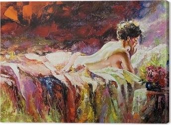 Tableau sur toile La jeune fille nue pose sur un lit