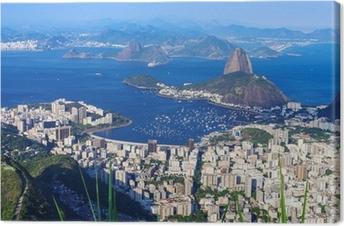Tableau sur toile La montagne du Pain de Sucre et Botafogo à Rio de Janeiro