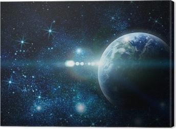 Tableau sur toile La planète terre réaliste dans l'espace