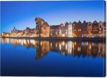 Tableau sur toile La vieille ville de Gdansk avec l'ancienne grue dans la nuit, de la Pologne