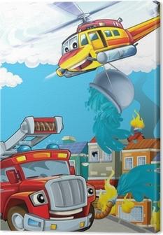 Tableau sur toile La voiture et la machine de vol