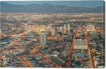 Tableau sur toile Las Vegas Downtown - Vue aérienne des bâtiments génériques avant soleil