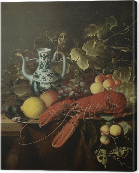 Tableau sur toile Laurens Craen - Still Life With A Lobster On A Pewter Plate, Lemons, Grapes, Apricots, Oysters - Reproductions