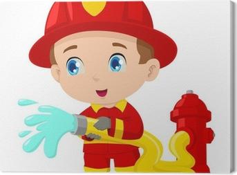 Tableau sur toile Le dessin d'illustration d'un pompier