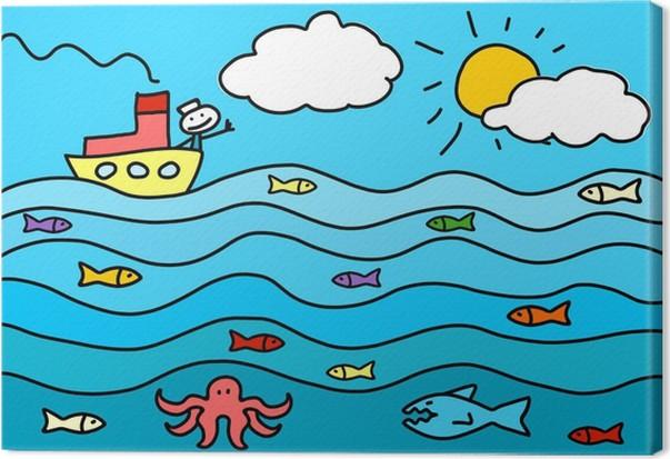 tableau sur toile le dessin d 39 un enfant de la mer pixers nous vivons pour changer. Black Bedroom Furniture Sets. Home Design Ideas