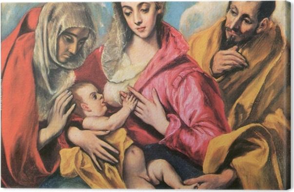 Tableau sur toile Le Greco - La Sainte Famille avec Sainte Anne - Reproductions