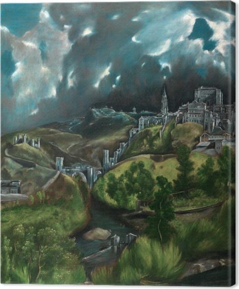 Tableau sur toile Le Greco - Vue de Tolède sous l'orage - Reproductions
