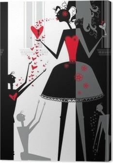 Tableau sur toile Le jeu de l'amour dans le théâtre d'ombres.