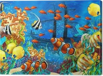 Tableau sur toile Le récif de corail - illustration pour les enfants