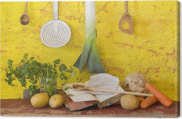 tableau sur toile l gumes pour la soupe des ustensiles de cuisine d 39 poque livre de cuisine. Black Bedroom Furniture Sets. Home Design Ideas