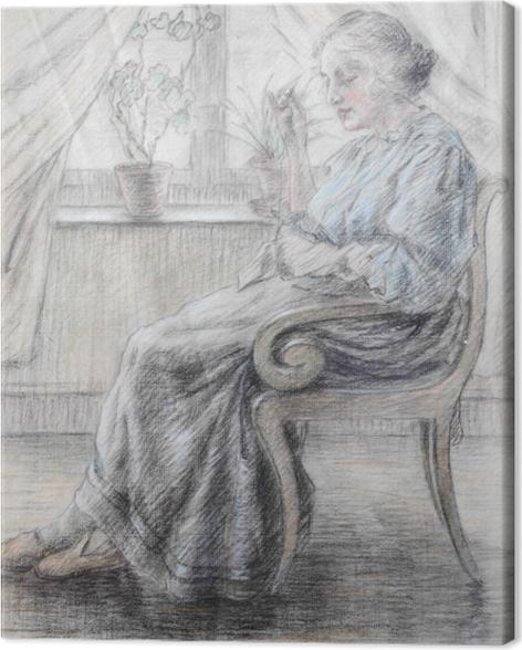 Tableau sur toile Leo Gestel - Femme tricot - Reproductions