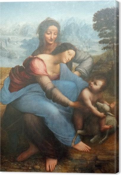 Tableau sur toile Léonard de Vinci - La Vierge, l'Enfant Jésus et sainte Anne - Reproductions