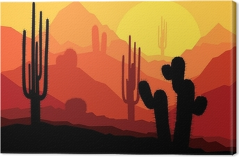Tableau sur toile Les cactus au Mexique désert coucher du soleil vecteur