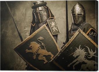 Tableau sur toile Les chevaliers médiévaux sur fond gris
