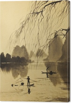 Tableau sur toile Les montagnes d'Asie et du lac