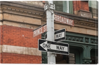 Tableau sur toile Les plaques de rue et feux de circulation à New York, États-Unis