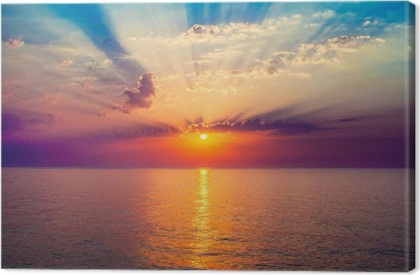 tableau sur toile lever de soleil dans la mer pixers nous vivons pour changer. Black Bedroom Furniture Sets. Home Design Ideas