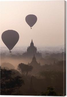 Tableau sur toile Lever de soleil sur les plaines du temple de Bagan - Myanmar