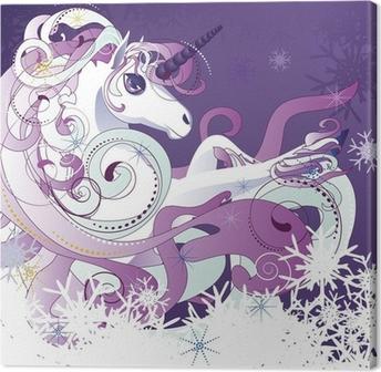 Tableau sur toile Licorne blanche