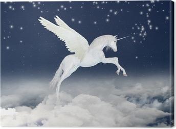 Tableau sur toile Licorne dans le ciel
