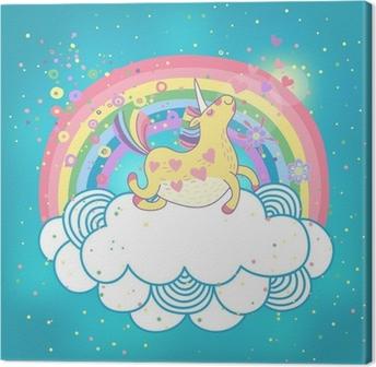 Tableau sur toile Licorne dans les nuages