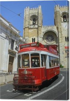 Tableau sur toile Lisbon tram rouge