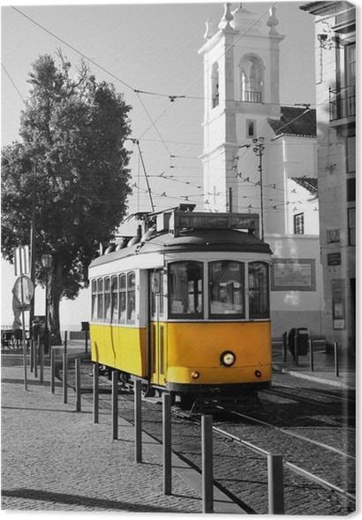 tableau sur toile lisbonne vieux tram jaune sur fond noir et blanc pixers nous vivons pour. Black Bedroom Furniture Sets. Home Design Ideas