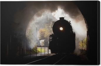 Tableau sur toile Locomotive à vapeur pénètre tunnel