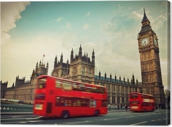 Tableau sur toile Londres, Royaume-Uni. Bus rouge dans le mouvement et Big Ben