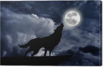 Tableau sur toile Loup hurlant à la pleine lune