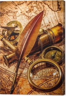 Tableau sur toile Loupe Vintage est situé sur une ancienne carte du monde