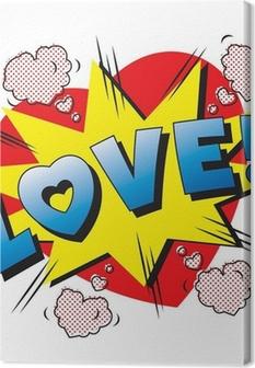 Tableau sur toile Love Explosion de bande dessinée. Tomber en amour. Amour feu d'artifice.
