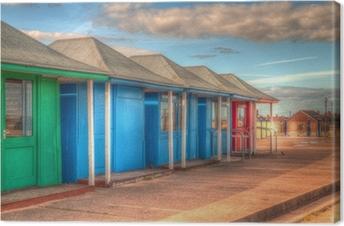 Tableau sur toile Lumineuses cabines de plage colorées