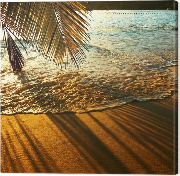 tableau sur toile magnifique coucher de soleil la plage. Black Bedroom Furniture Sets. Home Design Ideas