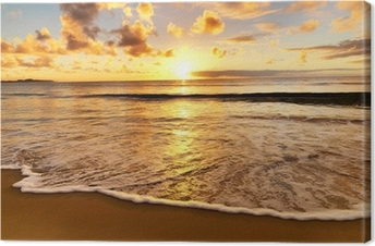 Tableau sur toile Magnifique coucher de soleil sur la plage