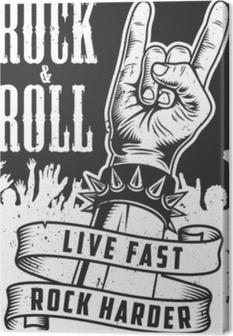 Tableau sur toile Main dans le signe du rock n roll