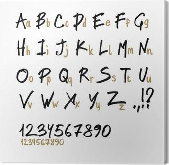 Tableau sur toile Main dessinée lettres de l'alphabet, dans deux faces (minuscules et majuscules).