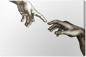 Tableau sur toile Mains de Dieu et Adam