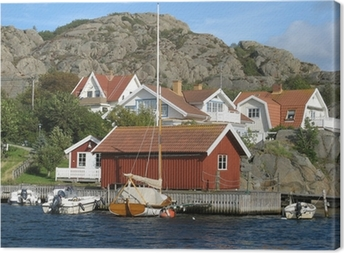 Tableau sur toile Maisons en bord de mer sur la côte ouest de la Suède