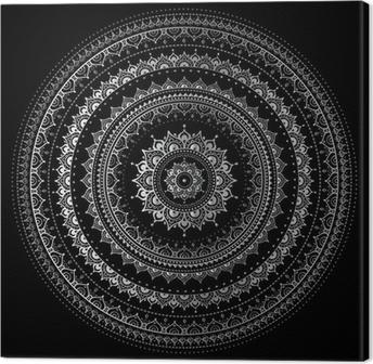 Tableau sur toile Mandala argent