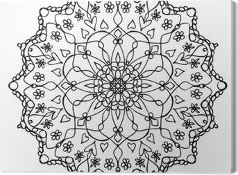 Tableau sur toile Mandala noir et blanc
