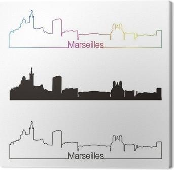 Tableau sur toile Marseille horizon style linéaire avec arc en ciel