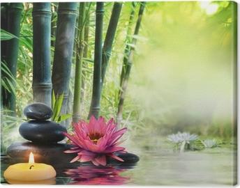 Tableau sur toile Massage dans la nature - lis, pierres, bambou - notion zen