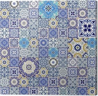 Tableau sur toile Mega motif patchwork transparente de carreaux marocains colorés