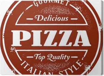 Tableau sur toile Menu Pizza Vintage Stamp