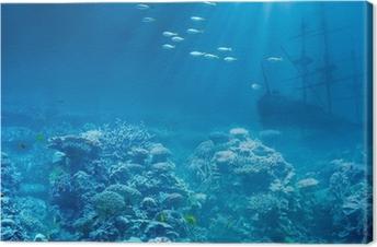 Tableau sur toile Mer ou de l'océan sous l'eau avec des requins et coulé trésors navire
